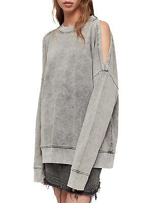 All Saints Small 8 10 12 Sweatshirt Top Jumper Acid Grey Oversized...