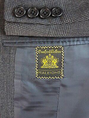 OXXFORD Mens Gray & Black Glen Plaid 2-Button Wool Sport Coat Blazer 42R