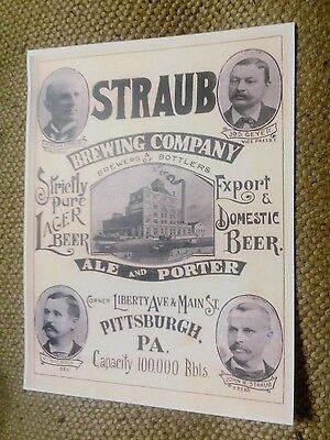 1894 Straub Brewing Co. Pittsburgh PA. Ale Porter Lager Bottlers Beer Ad Poster