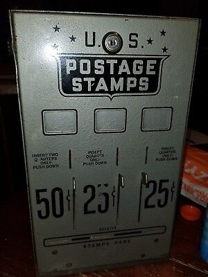 authentic US POSTAGE STAMP VENDING MACHINE metal original heavy vintage 25ct