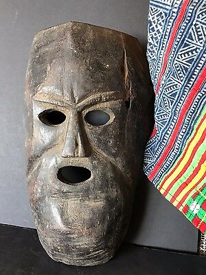 Old Tibetan / Nepalese Carved Wooden Mask (c) …beautiful age & patina