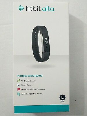 NEW Fitbit Alta Fitness Wristband Activity Tracker (Large) Black