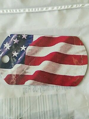 Full Color American Flag Dog Tag double sided. Red White Blue Military U.S
