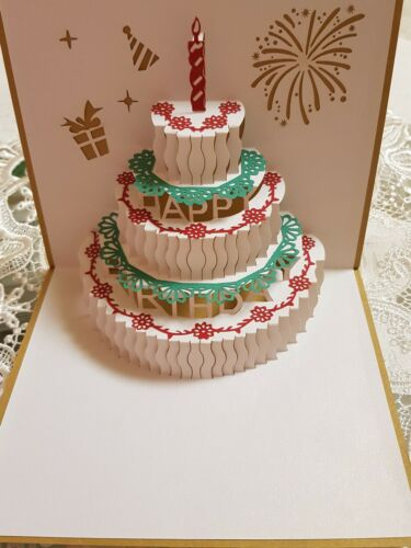 Handgemachte 3D Pop Up - Grusskarte Geburtstagstorte -  Geburtstag