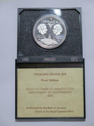 JAMAICA 1972 $10 SILVER PROOF EDITION CASED 10TH ANNI. WORLD COIN #6620