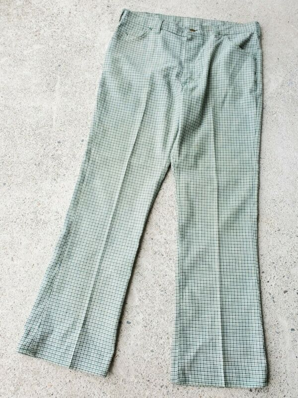 Vintage 70s LEE RIDER Boot Cut Flare Green HOUNDS TOOTH Pants USA Mens 38x32
