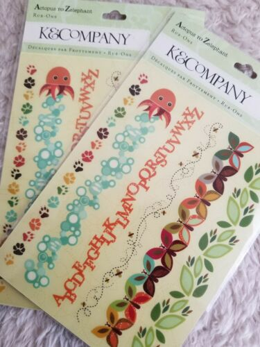 Lot Of 2 K COMPANY Rub-Ons Actopus To Zelephant BORDERS Short Animal Theme  - $11.27