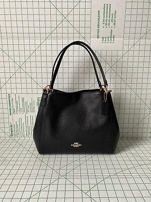 NWT Coach F80268 Hallie Shoulder Bag Pebbled Leather in Black