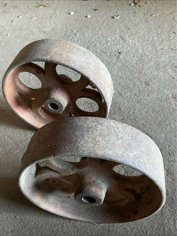 "Pair Old Cart Wheels Mining 9"" Cast Iron"