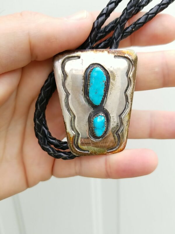 Vintage Turquoise Stone Sterling Silver Bolo Tie