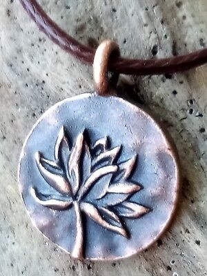 The Jewel Is In The Lotus  Copper Hand Crafted Necklace 18  Cord Casual Yoga
