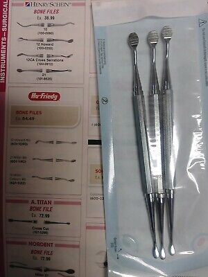 Hu-friedy 21 Miller Bone File - Reference Bf21 - Lot Of 3 Oral Surgery