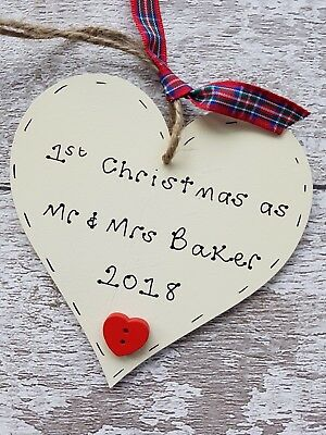 1st first Christmas as husband and wife personalised wooden heart gift Mr &
