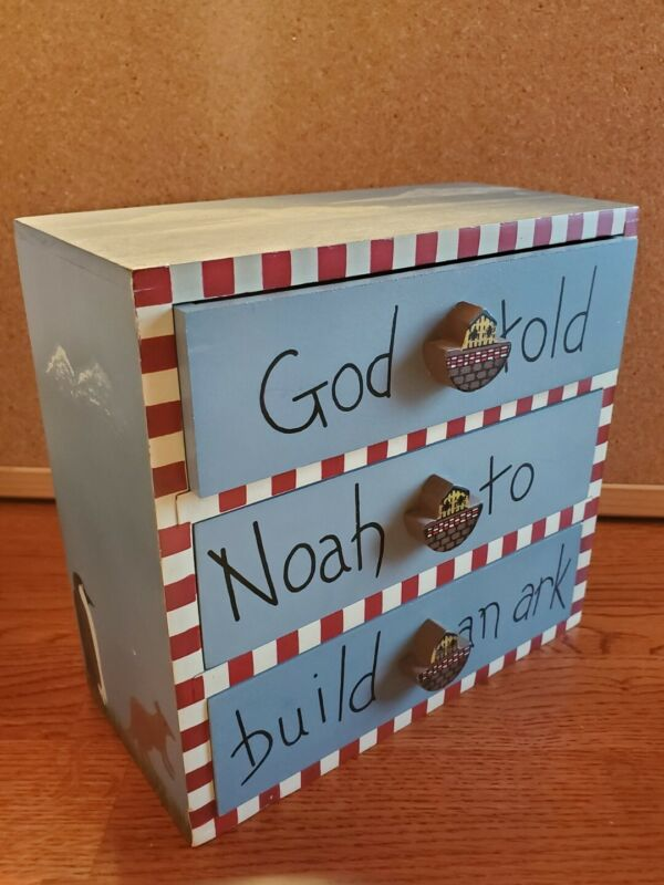 Vintage Wood Painted Noah