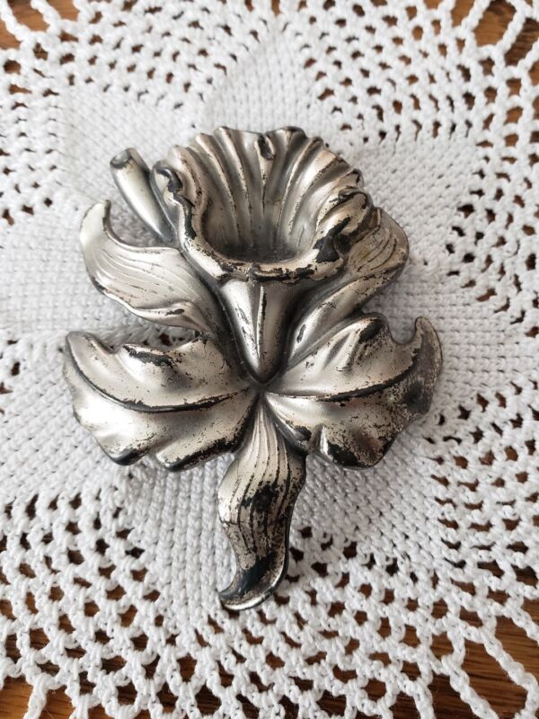 "Vintage Orchid Floral Scarf Clip Silver Tone Metal 2 3/4""t×2 1/8""w"