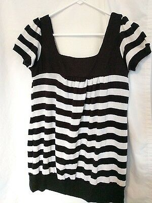 Black And White Striped Shirt Halloween Costume (Womens Shirt Black White Striped HAMBURGLAR SS Piper & Blue Ladies Top)