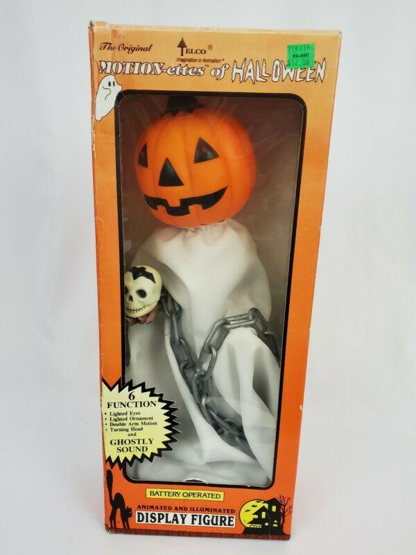 Rare Telco Halloween GHOST PUMPKINHEAD Animated Motionette Lighted Motion-ette