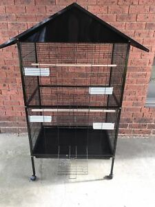 Large Bird Parrot Canary Cage With Play Roof Top Ladder Wheels