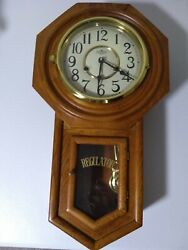 Vintage School House DEA Wooden Wall Cabinet 30 day time & strike Clock, working