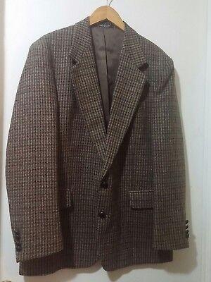 Andhurst Men's Jacket Blazer Size 40R Brown Houndstooth 100% Wool Tweed Leather