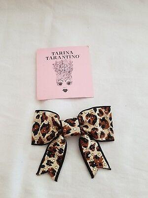 RARE NIB Tarina Tarantino Swarovski Cheetah Print Hair Bow Clip Trending