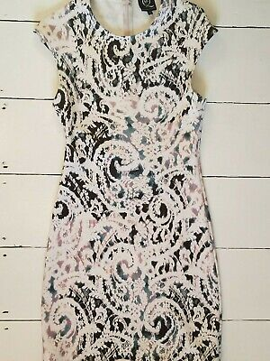 Alexander McQueen stretch wiggle body con Dress white black  size medium m uk 10