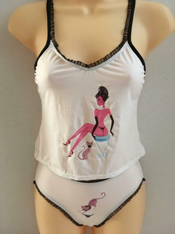 Rare Vtg Fredericks of Hollywood PUSSYCAT NAKED LADY PANTIES Cami Set Small