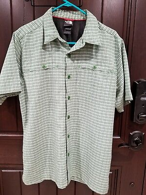 The NORTH FACE Men's Short Sleeve Button Front Green Plaid Shirt sz Large