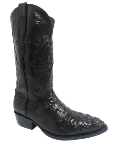 Mens, Black, Crocodile, Hornback, Exotic, Skin, Leather, Cowboy, Boots, J, Toe, Size, 7.5