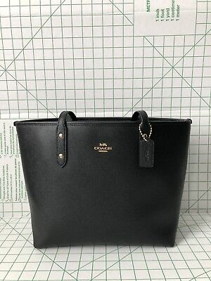 Coach Crossgrain Leather Zip Top City Tote Shoulder Bag in Black F58846