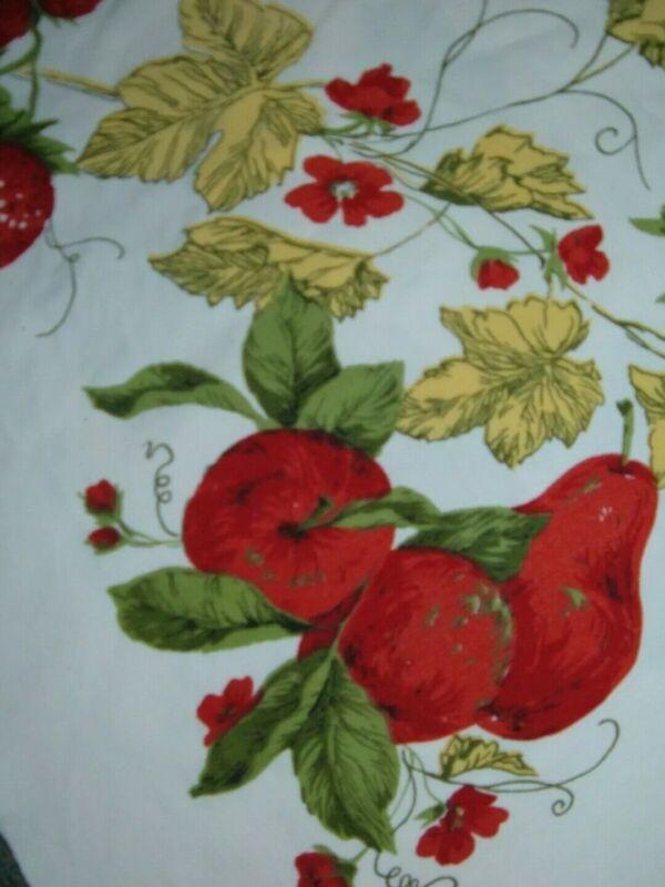 VINTAGE TABLECLOTH RED FRUIT FLORAL