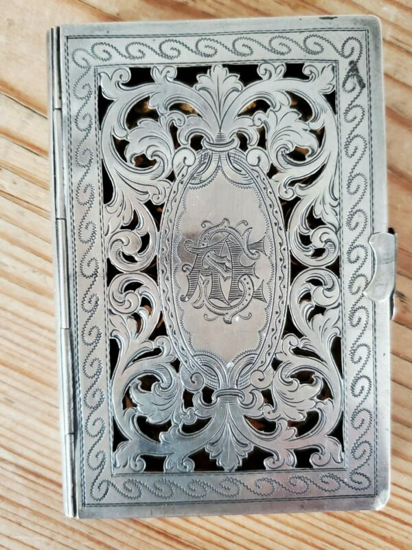 Antique Victorian Hand engraved Sterling silver card Case; Open Cut Work EUC