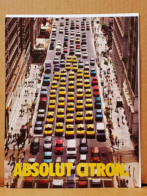 Absolut Citron Yellow Taxis Cabs City Street 2000 Photo Print AD VODKA Vintage