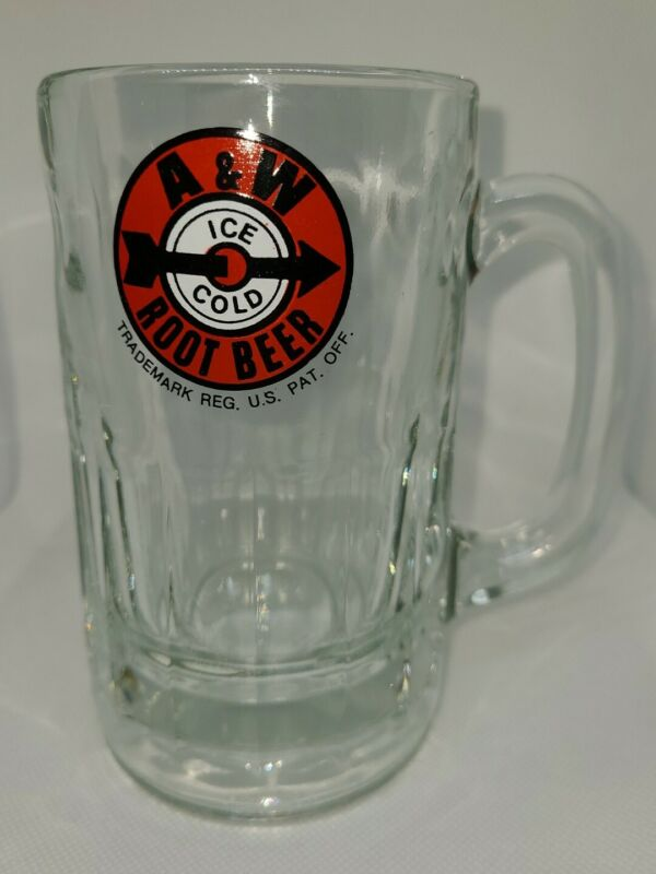 Heavy Glass A&W Root Beer Mug Arrow Logo AW