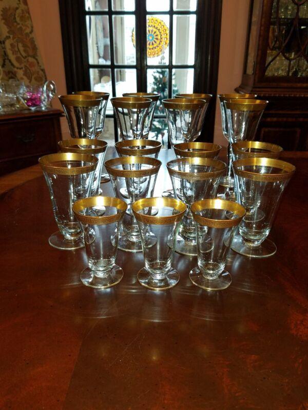 Minton gold encrusted Water iced tea, juice non-optic Tiffin, Glastonbury-Lotus
