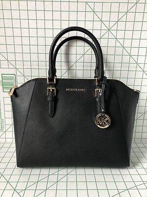 NWT Michael Kors Ciara Large Black Saffiano Leather Satchel Bag