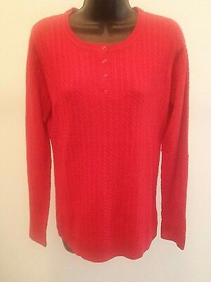 Laura Scott Missy Cable Henley Tango Red Sz S Long Sleeve Pullover Sweater E3