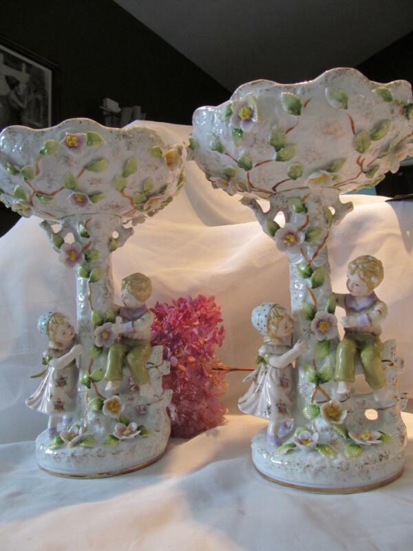 """Set 2 Pair Antique German Porcelain Dresden Victorian style compotes 11.5"""""""