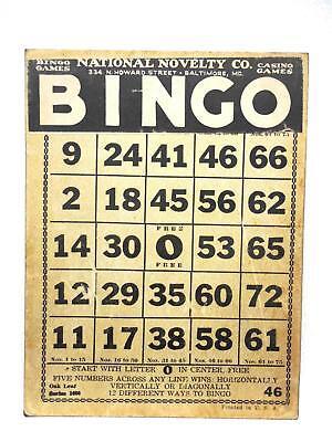 Vintage BINGO Card National Novelty Co N Howard Baltimore MD   HEAVY!