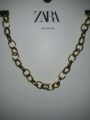 NEW WITH TAGS ZARA LONG GOLD LINKED CHAIN NECKLACE REF 1856/013 SOLD OUT!