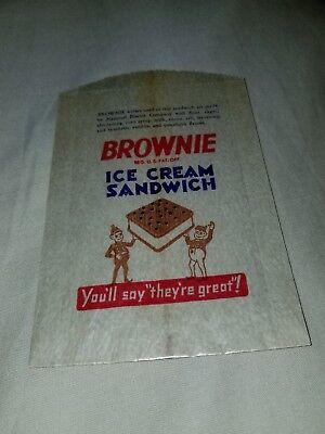 vintage Palmer Cox Brownie Brownie Ice Cream Sandwich Bag c. 1930's NaBisCo Brownie Ice Cream Sandwich