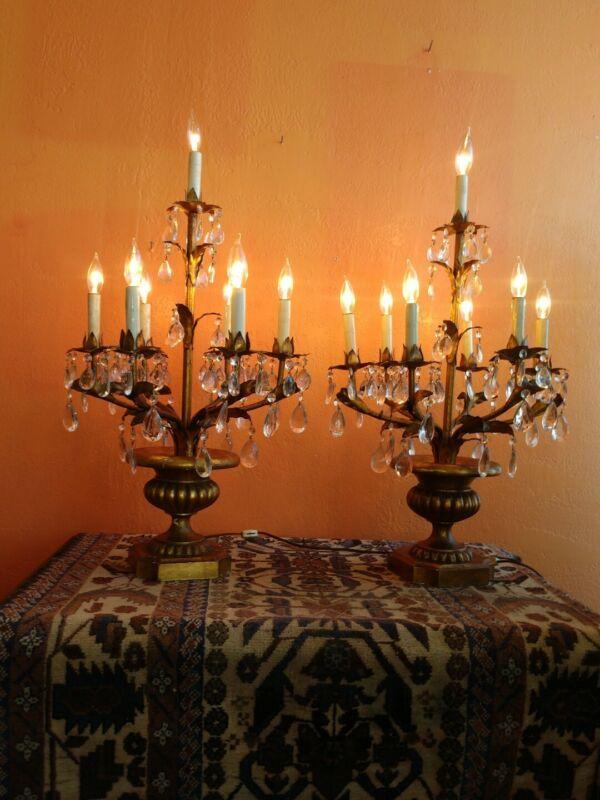 Pair Vintage Mid Century Italian Florentine Gilt Tole & Crystal Light Candelabra