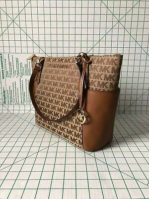 Fabric Tote Bags (NWT Michael Kors Bedford Large EW Zip Tote Signature Fabric Leather Shoulder)