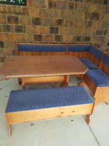 timber corner nook seating & table with storage