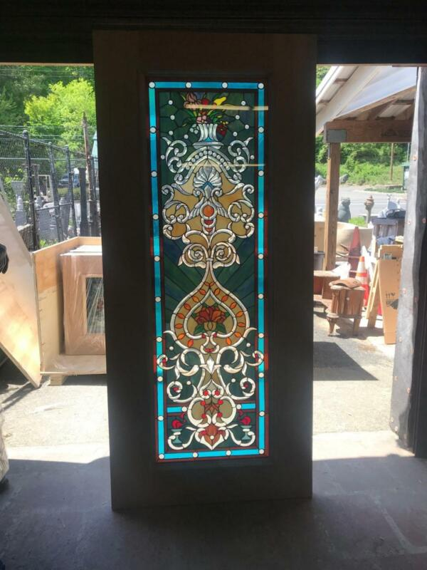 BEAUTIFUL HAND MADE STAINED GLASS VICTORIAN STYLE ENTRY DOOR - JHL2167-102