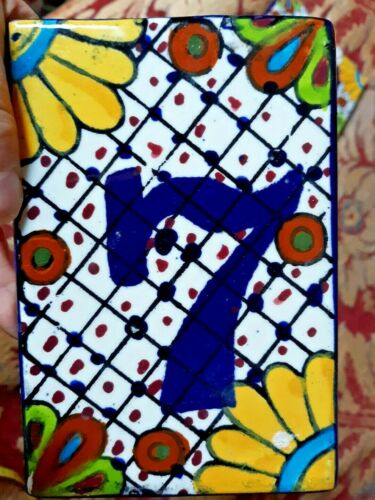 "NEW TALAVERA STYLE POTTERY HOME house ADDRESS NUMBER TILE 6""X 4""  # 7 MEXICO"