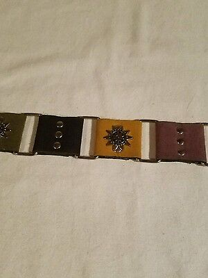 Women's Belt Suede with Silver Colored Squares Leather