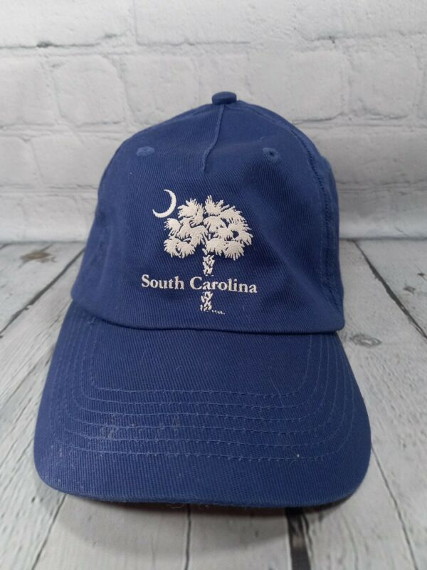 Vintage South Carolina Ball Cap Palmetto Tree and Crescent Moon Blue & White Hat
