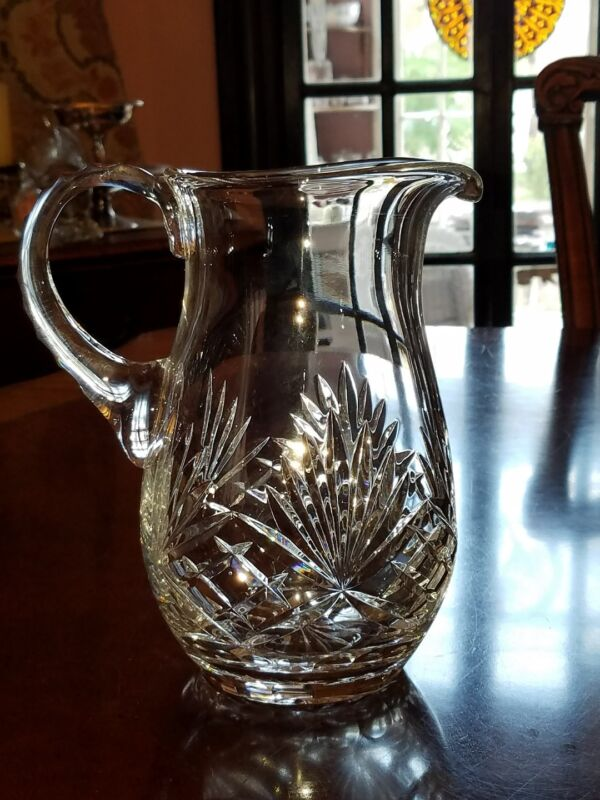 Signed Rogaska Richmond Crystal pitcher Fan criss cross notched handle 42 oz