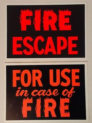 Vintage Plastic Fire Escape Signs Hardware Store Business Sign 7 X 10 Nos